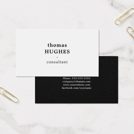 Modern Elegant Black White Consultant Business Card