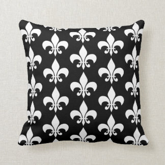 Modern Elegant Black & White Fleur de lis Pattern Cushion