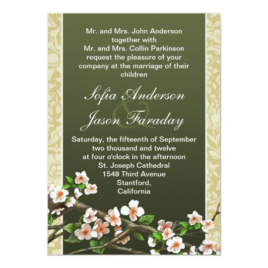 Modern elegant blossoms wedding invitation