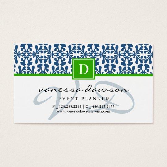 Modern Elegant Blue Arabesque Damask Monogram Business Card