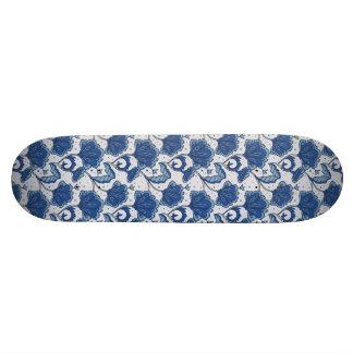 Modern Elegant blue batik pattern 19.7 Cm Skateboard Deck