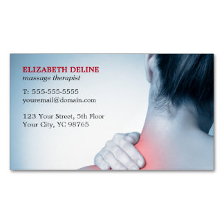 Modern Elegant Blue Photo Massage Therapist Magnetic Business Card
