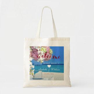 Modern Elegant Bouquet Beach Wedding Welcome Heart