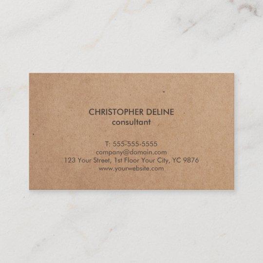 Modern elegant brown kraft paper consultant business card zazzle modern elegant brown kraft paper consultant business card reheart Image collections