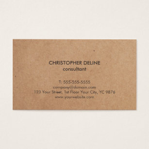 Kraft business cards business card printing zazzle uk modern elegant brown kraft paper consultant business card reheart Image collections