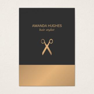 Modern Elegant Chic Faux Gold Grey Hair Stylist Business Card