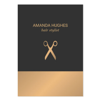 Modern Elegant Chic Faux Gold Grey Hair Stylist Pack Of Chubby Business Cards