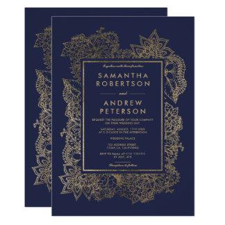 Modern elegant chic floral faux gold frame wedding card