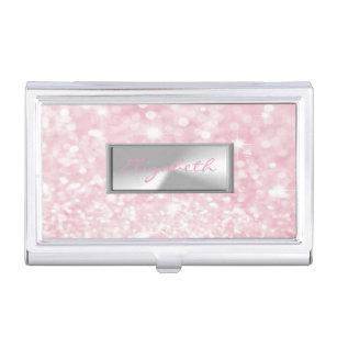Girly business card holders cases zazzle modern elegant chic girly glitterybokeh business card holder colourmoves