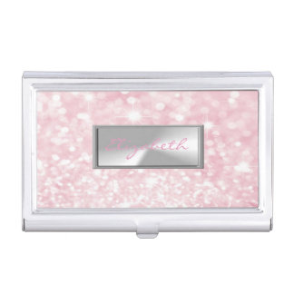 Modern Elegant Chic Girly  Glittery,Bokeh Business Card Holder