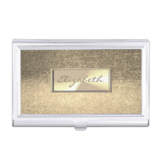 Modern Elegant Chic Girly  Glittery,Faux Gold Business Card Holder