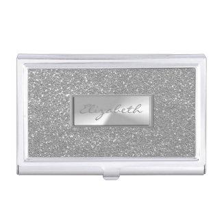 Modern Elegant Chic Girly  Glittery Silver Business Card Holder