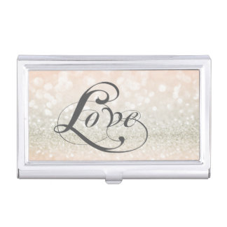Modern Elegant Chic Glittery-Love Business Card Case