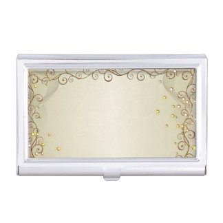 Modern Elegant Chic Gold-Diamonds Business Card Holder