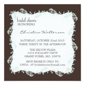 Modern Elegant Chocolate Square Bridal Shower Card