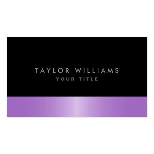 Modern elegant classy purple satin black profile business card templates