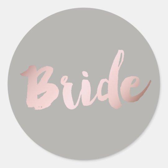 "modern elegant clear faux rose gold ""bride"" classic"
