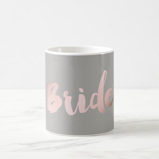 "modern elegant clear faux rose gold ""bride"" coffee"