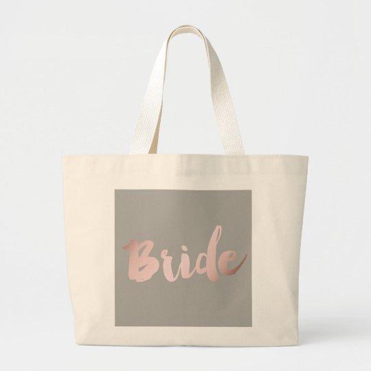 """modern elegant clear faux rose gold """"bride"""" large"""