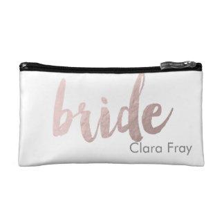 """modern elegant clear faux rose gold """"bride"""" makeup bag"""