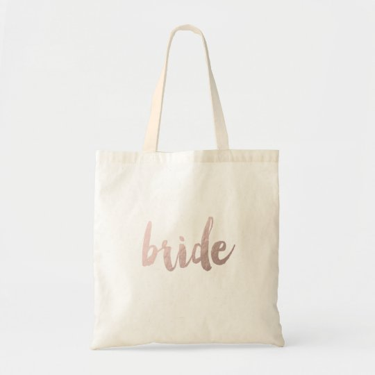 "modern elegant clear faux rose gold ""bride"" tote"