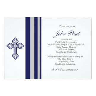 Modern Elegant Cross Communion Invitation for Boys