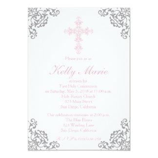 Modern Elegant Cross First Communion Invitation
