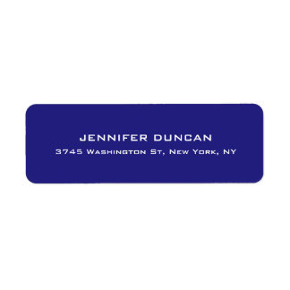 Modern Elegant Cute Unique Deep Blue Colored Return Address Label