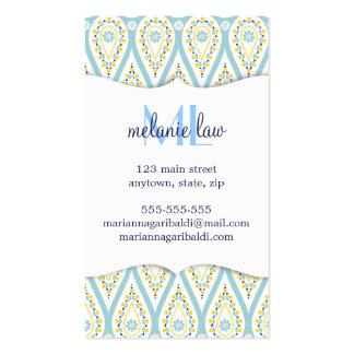 Modern Elegant Damask Blue Paisley Personalized Business Cards