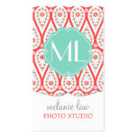 Modern Elegant Damask Coral Paisley Personalised Pack Of Standard Business Cards