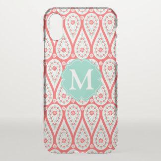 Modern Elegant Damask Coral Paisley Personalised iPhone X Case