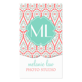 Modern Elegant Damask Coral Paisley Personalized Business Card