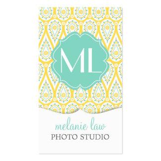 Modern Elegant Damask Yellow Paisley Personalized Business Card Templates