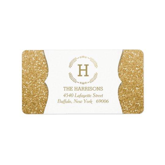 Modern Elegant Fake Glitter Custom Monogram Address Label