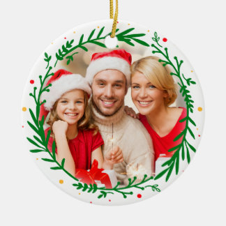 Modern Elegant Family Photo Christmas Ornament