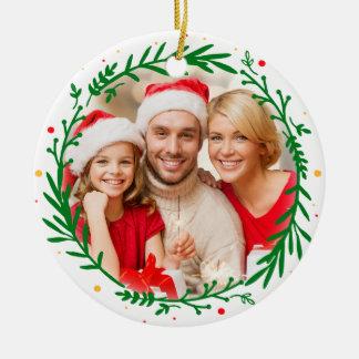 Modern Elegant Family Photo Christmas Wreath Round Ceramic Decoration