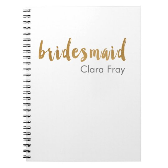 modern elegant faux gold bridesmaid text notebook
