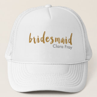 modern elegant faux gold bridesmaid text trucker hat