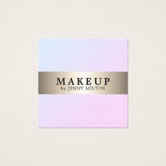 Modern Elegant Faux Gold Stripe Makeup Artist Square Business Card