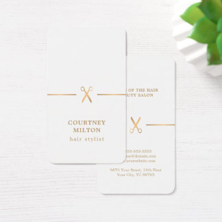 Modern Elegant Faux Gold White Hair Stylist Business Card