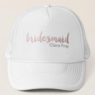 modern elegant faux rose gold bridesmaid text trucker hat