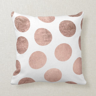 Modern elegant faux rose gold handdrawn polka dots cushion