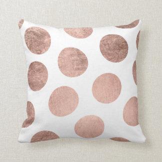 Modern elegant faux rose gold handdrawn polka dots cushion