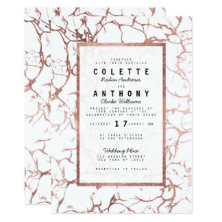 Modern elegant faux rose gold marble Wedding Card