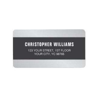 Modern Elegant Faux Silver Grey White Label
