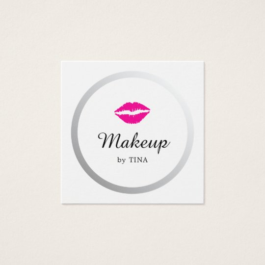 Modern Elegant Faux Silver Lips Makeup Artist Square