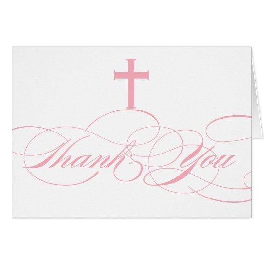 Modern Elegant First Communion Thank You Girls Card