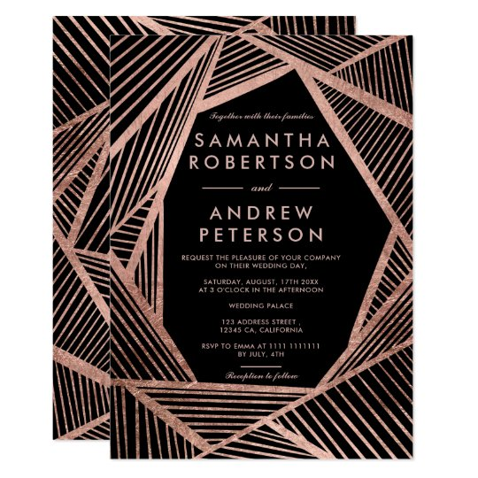 Modern elegant geometric rose gold stripes wedding card