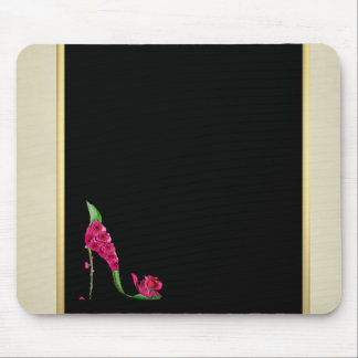 Modern Elegant Girly, Black, Cream,Flower Heel Mouse Mat