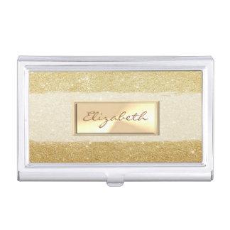 Modern Elegant  Girly , Glittery Faux Gold Business Card Holder